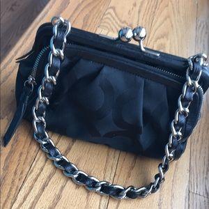 Black coach purse with silver chain